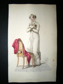 Ackermann 1813 Hand Col Regency Fashion Print. Morning Dress 9-27